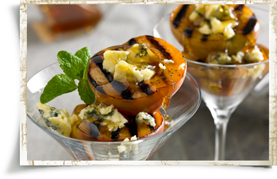 Grilled Peaches with Cashel Blue Cheese