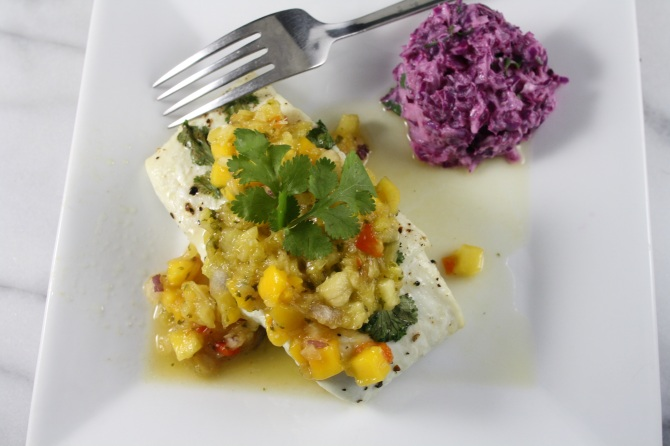 Baked Halibut with Mango Salsa and Cabbage Slaw