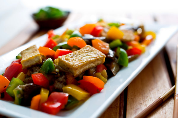 Stir-Fried Rainbow Peppers Eggplant and Tofu